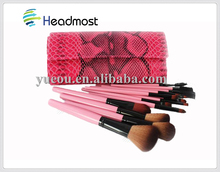 hard bristle brush Wholesale Private Label High Quality Natural Hair 10 PCS Makeup Brushes With Black PU Bag