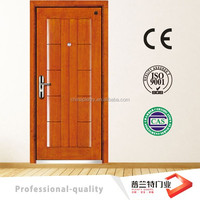 wood entry door with iron