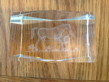 Laser Etched Crystal Cube With A Mare And Foal MH-TF0140
