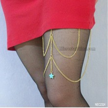 Turquoise lucky star charm leg chain jewelry