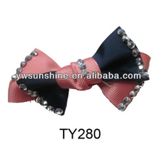 Beautiful fabric bowknot with resin diamond handmade