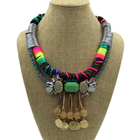Bohemia Gypsy Beachy Chic Vintage Necklaces Carving Coin Tassels Beach Rope Statement Necklaces Boho Party Jewelry 2015