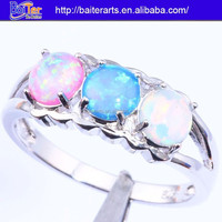 Hot !!! 925 sterling silver mystic fire opal three diamond ring gemstone engagement rings vintage
