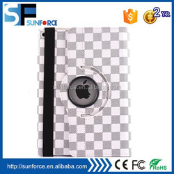 360 degree rotating plaid pattern leather case with 3-angle viewing holder for ipad 6
