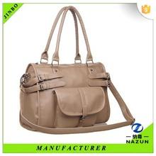 Hebei manufacturers khaki pu cheap women leather bag tote