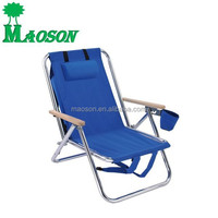wholesale 2015 AMERICA popular cheapest promotion aluminium backpack beach chair with wood armrest