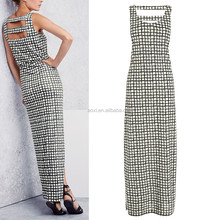 Grid Print Maxi Cut Out sleeveless mini Dress