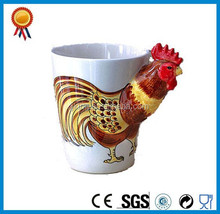 new arrival cock printing 3D animal embossed ceramic mug