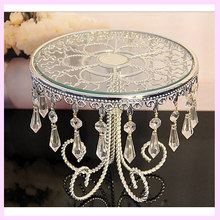 New Design Luxury antique Vintage Glass with Crystal decoration metal Frame wedding fruit plate cake stand