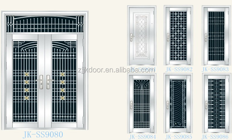 Jk ss9036 stainless steel grill door design luxury metal for Residential main door design