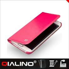 QIALINO Logo Printed Comfortable Design Top Layer Leather Wallet Case For Samsung S6 For Edge