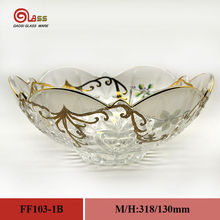 wholesale decorative glass fruit bowl/cheap glass bowls and plates with gold flower/glass bowls