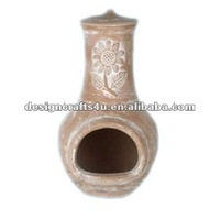 terracotta outdoor chimenea with lid