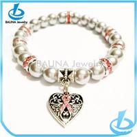 Vintage heart charm bracelet pearl beaded breast cancer awareness bracelets