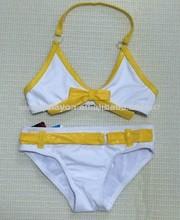 Amarillo y blanco chico girls' de dos piezas traje de baño