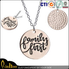 """Initial Necklace Rose Gold Plated Personalized Initial Necklace Letter Necklace-Rinhoo """"Family First"""""""