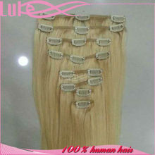 European Clip In Remy Hair Extensions 7 Piece