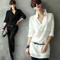nuevo 2015 camisas de las mujeres la mitad de la manga blusa de gasa camisas
