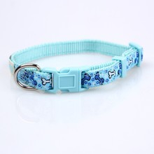 nylon preppy dog collars with personalized logo for sale