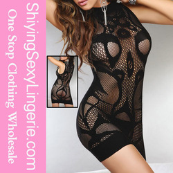 online shopping Black Hollow Out High Neck Sleeveless hot sexy transparent nighties