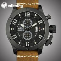 INFANTRY Men Pilot Leather Quartz Auto Date Men Military Watch