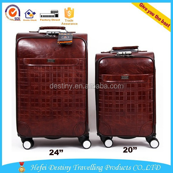 hiq high quality retro brown business 4 wheels travel pu