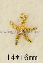 2015 New design small sea star shape gold pendant for necklace,bracelet,earring,hair accessories very popular with girls