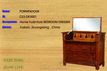 Professional FoShan Factory Brand natural wood dresser with 3 drawers