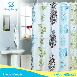 Polyester Flower Print Hookless Design Shower Curtains
