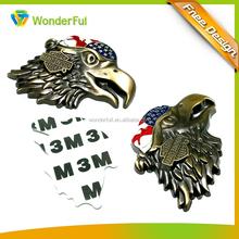 Eco-friendly Euro Low Cadmium Standard Fashion Auto Accessories Promotion Bronze 3D Eagle Custom Car Emblem