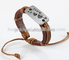 Top quality genuine braided leather bracelet with unique design for wholesale