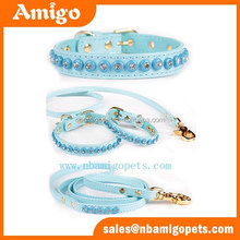 Bling bling rhinestone stud leather dog collars and leashes