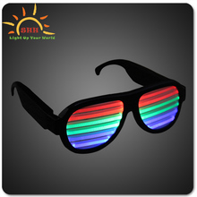 2015 New Design funny Lighting Up Voice Control Led Shutter shade Sunglasses Led Sound Activated sunglasses For Night bar Party
