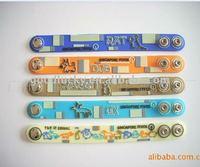 Cartoon embossed flexible plastic soft pvc rubber bracelet band