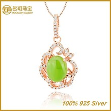 Real Pure Silver Oval Pendant with Jade Fashion Necklace, 2014 Hot Sale