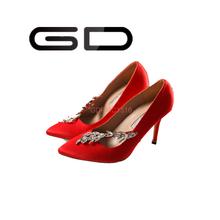 GD 2015 Golden super fancy high ladies pump shoes Silk upper for elegant women