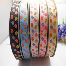 Gift printing four color stamping print grosgrain ribbon packing ribbon