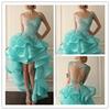 2015 Elegant Blue Prom Dresses O-Neck sleeveless sheer back Organza Lace Appliques Ruffles Hi-Lo party dress