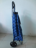 600D polyester oxford collapsible shopping trolley cart shopping bag with wheels