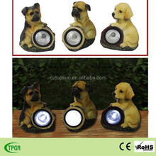 Polyresin small garden dog statues solar light