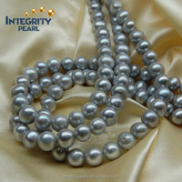 9-10mm Silver grey near round shape freshwater pearl beads