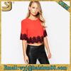 Wholesale custom sexy plain latest fashion design lady lace crop top