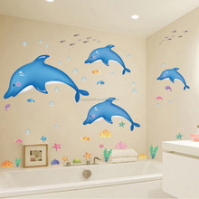Blue Dolphin & Fish Bathroom Wall Stickers Kids Nursery Room Decor Sea Ocean