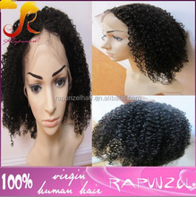 Middle parting brazilian afro kinky curl full lace wigs with Fast delivery