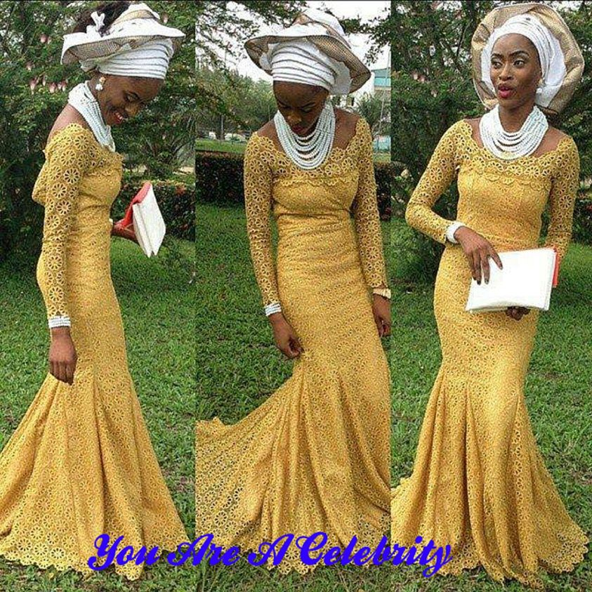 Nigerian styles cord lace latest fashion dress making for African dresses for wedding guests