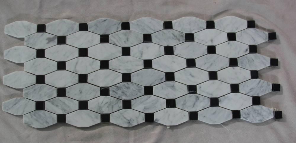 Mosaico para barras color negro for Marmol negro y blanco