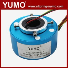 SR025 4 wires rotating connector carbon brush holder hole through bore slip ring slip rings electrical connection