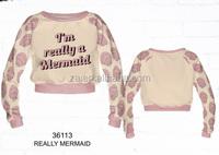 10pcs selling Wholesale custom men crewneck really mermaild custom sweatshirt manufacturer for ladies fashion wear