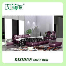 alibaba express Chinese home furniture leather bed frame sale DS-713