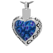 Hot Sell Keepsake Memorial Jewelry Blue Color Murano Glass Heart Shape 316L Stainless Steel Cremation Urn Pendant